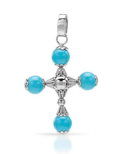 MILLANA Made In Italy Sky Blue Turquoise Sterling Silver Cross Ladies Pendant
