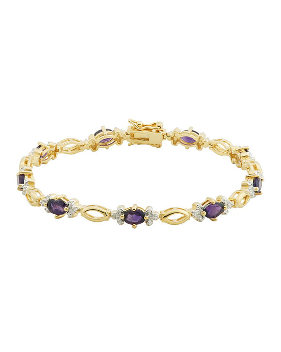 3.14 CTW Accent Oval Purple Amethyst Gold Plated Silver Ladies Bracelet