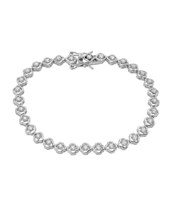 MILLANA Made In Italy Cubic Zirconia Sterling Silver Tennis Ladies Bracelet