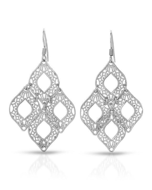 MILLANA Made In Italy Sterling Silver Chandelier Ladies Earrings Length 52 mm