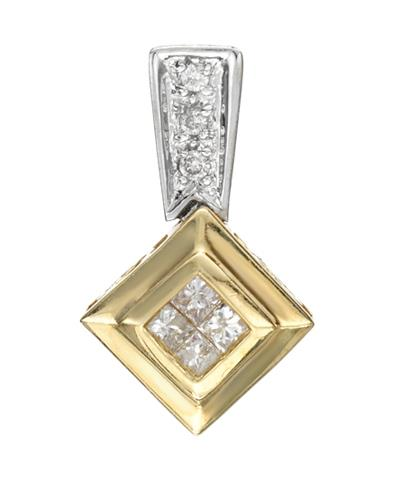 0.18 CTW J-K I2 Multi-Shaped Diamonds 14K Gold Ladies Pendant Length 16 mm