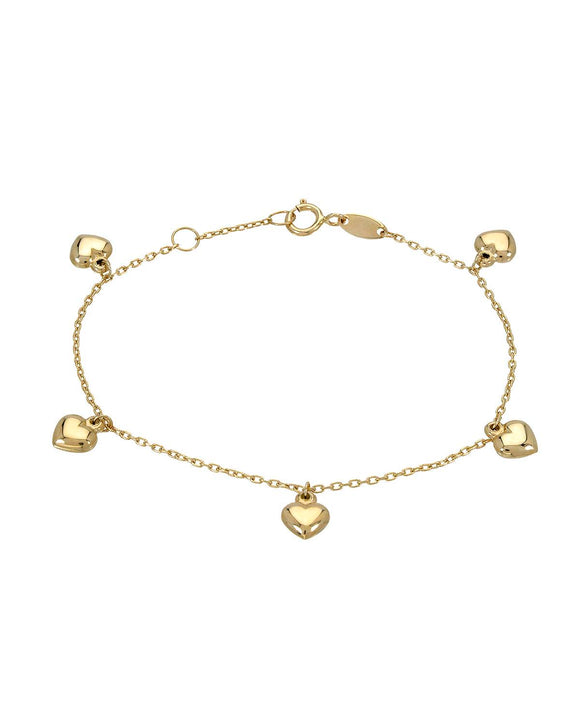 MILLANA Made In Italy 14K Gold Heart Ladies Bracelet Weight 1.3g.