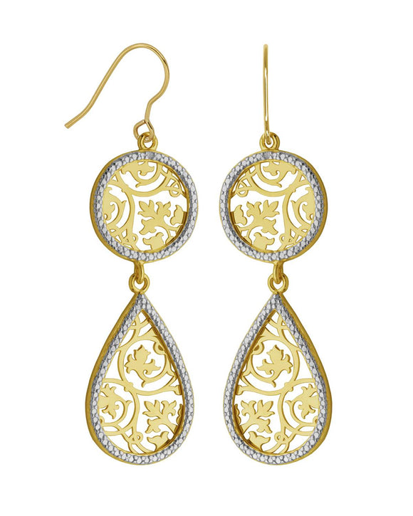 0.01 CTW Accent Round Diamonds Gold Plated Silver Dangle Ladies Earrings