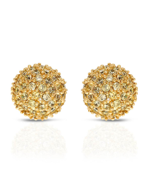 Round Yellow Cubic Zirconia Gold Plated Silver Stud Ladies Earrings Weight 4.9g.