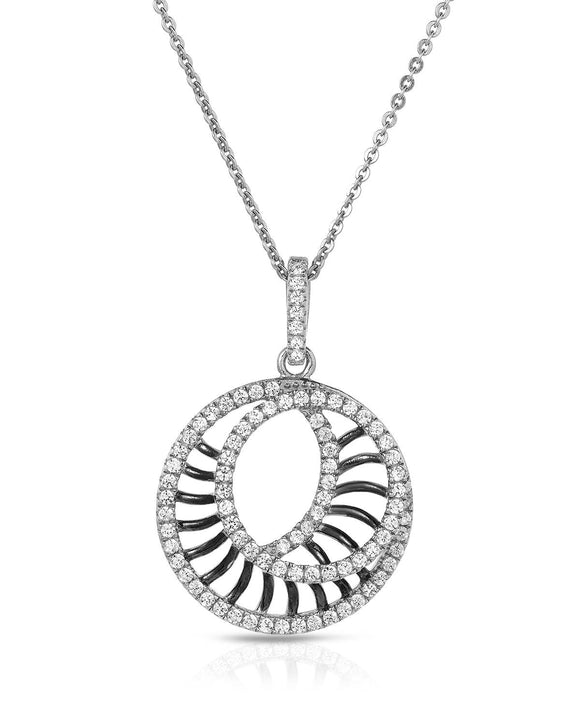Round White Cubic Zirconia Sterling Silver Circle Ladies Necklace Length 16 in