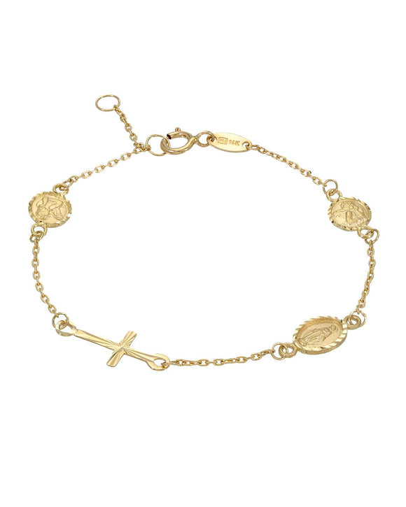 MILLANA Made In Italy 14K Gold Cross Ladies Bracelet Weight 1.3g.