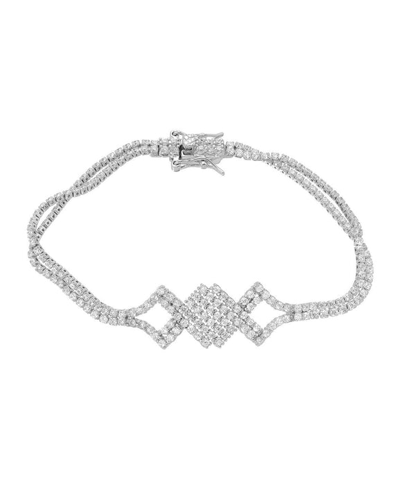 MILLANA Made In Italy Round White Cubic Zirconia Sterling Silver Ladies Bracelet