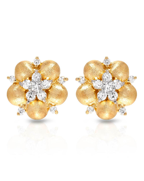 Round White Cubic Zirconia Gold Plated Silver Stud Ladies Earrings Weight 4.0g.