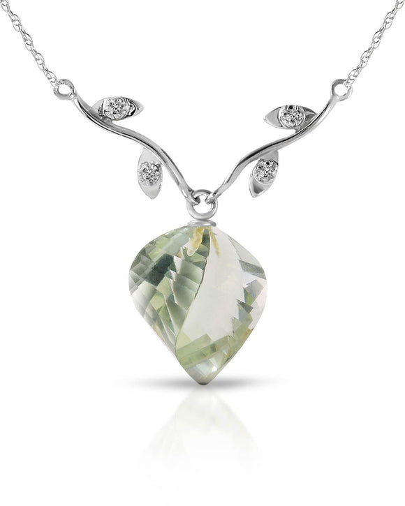 MAGNOLIA 13.02 CTW Accent Briolette Green Amethyst 14K Gold Ladies Necklace
