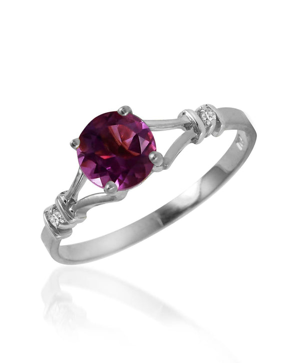 MAGNOLIA 0.93 CTW SI2 Round Purple Amethyst 14K Gold Ladies Ring Size 8