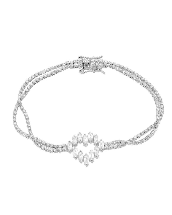 MILLANA Made In Italy White Cubic Zirconia Sterling Silver Heart Ladies Bracelet