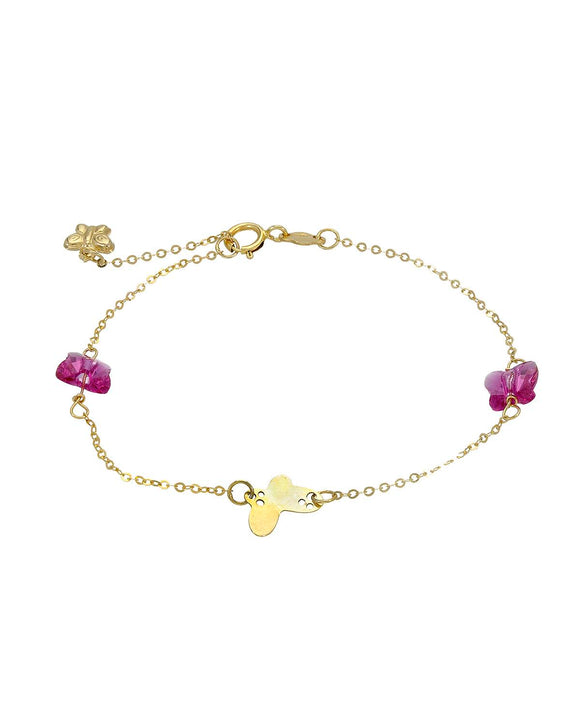GOLDEN ARC JEWELRY Made In Italy Pinkish Red Crystal 14K Gold Ladies Bracelet