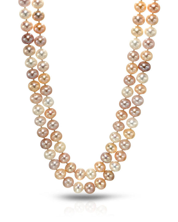 Beaded Multicolor Freshwater Pearl 14K Gold Ladies Necklace Length 17 in