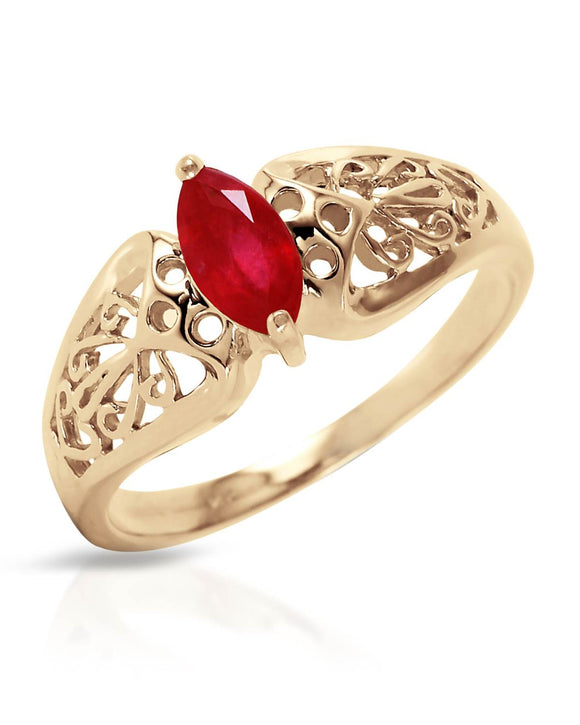 MAGNOLIA 0.20 CTW Marquise Red Ruby 14K Gold Ladies Ring Size 8 Weight 2.5g.