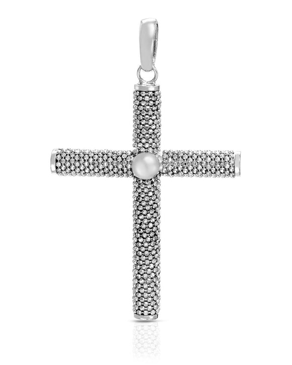 MILLANA Made In Italy Sterling Silver Cross Ladies Pendant Length 65 mm