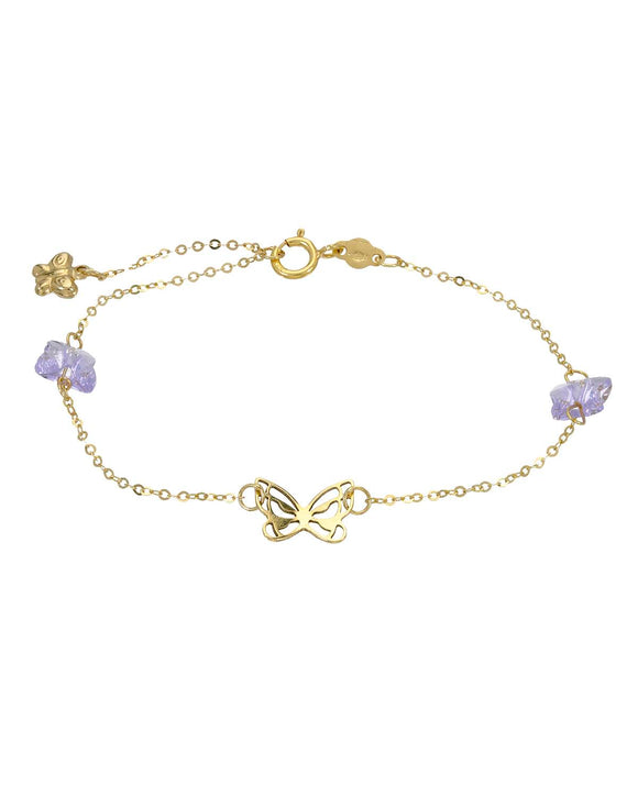 GOLDEN ARC JEWELRY Made In Italy Lavender Crystal 14K Gold Ladies Bracelet
