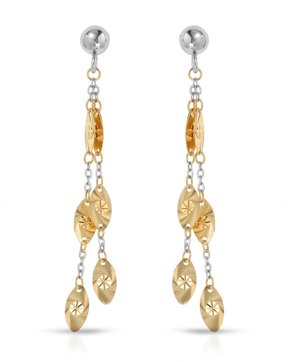 14K Gold Dangle Ladies Earrings Weight 1.7g. Length 52 mm