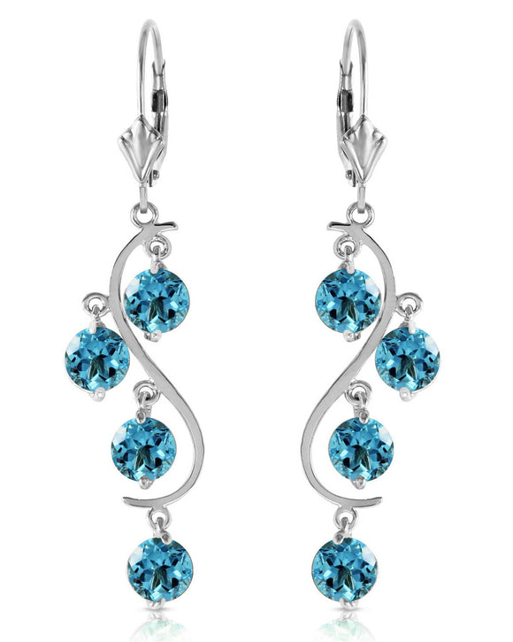 MAGNOLIA 4.95 CTW Round Blue Topaz 14K Gold Chandelier Ladies Earrings