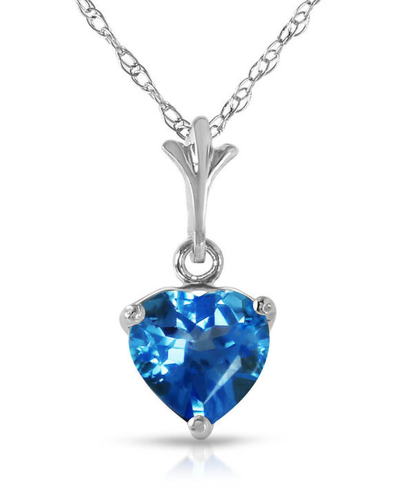 MAGNOLIA 1.15 CTW Heart Blue Topaz 14K Gold Heart Ladies Necklace Length 18 in