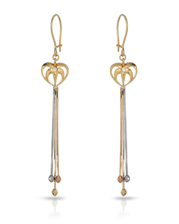 MILLANA Made In Italy Round White Cubic Zirconia 14K Gold Heart Ladies Earrings