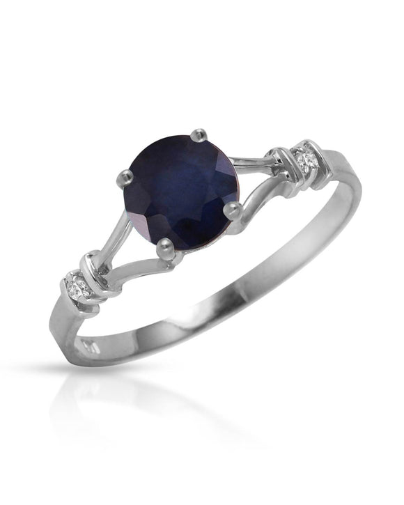 MAGNOLIA 1.02 CTW Accent Round Blue Sapphire 14K Gold Ladies Ring Size 8