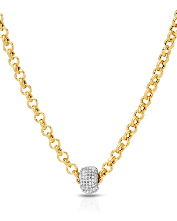Made In Italy Round White Cubic Zirconia Gold Plated Silver Ladies Necklace