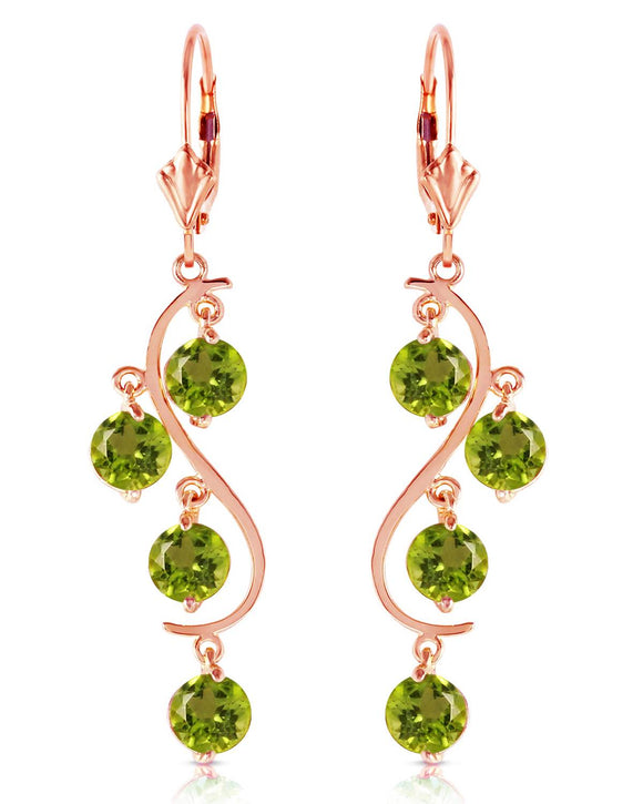 MAGNOLIA 4.95 CTW Round Golden Green Peridot 14K Gold Chandelier Ladies Earrings