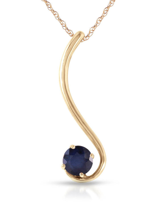 MAGNOLIA 0.55 CTW Round Blue Sapphire 14K Gold Ladies Necklace Length 18 in