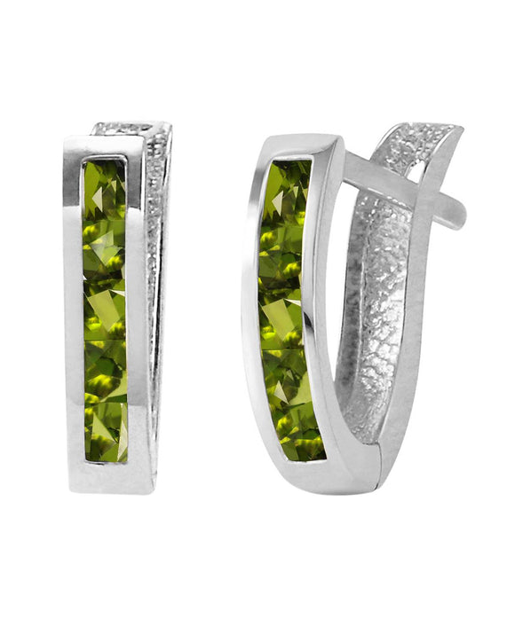MAGNOLIA 1.00 CTW Princess Green Peridot 14K Gold Hoop Ladies Earrings