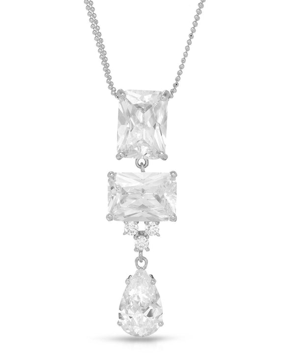 Multi-Shaped White Cubic Zirconia Sterling Silver Three-Stone Ladies Necklace