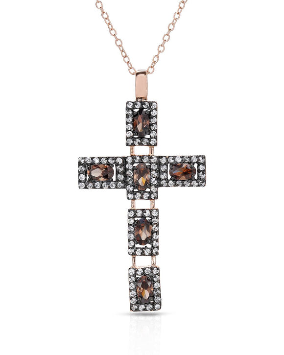 Made In Italy Multicolor Cubic Zirconia Gold Plated Silver Cross Ladies Necklace