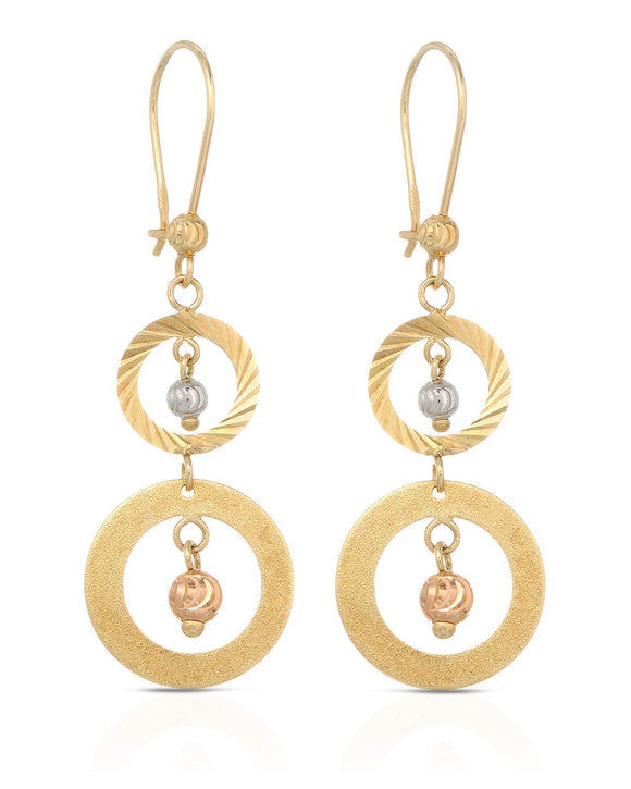 MILLANA Made In Italy 14K Gold Dangle Ladies Earrings Weight 2.6g. Length 46 mm