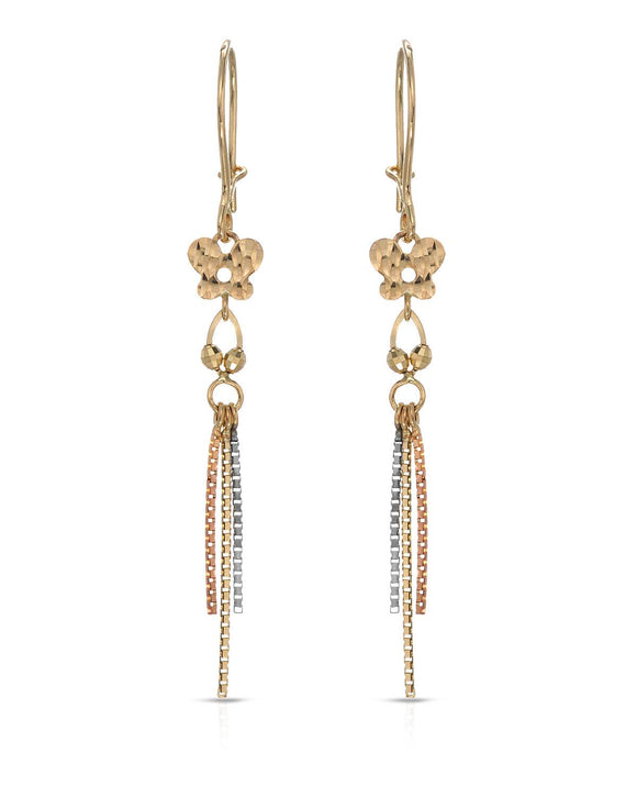 MILLANA Made In Italy 14K Gold Dangle Ladies Earrings Weight 1.3g. Length 52 mm