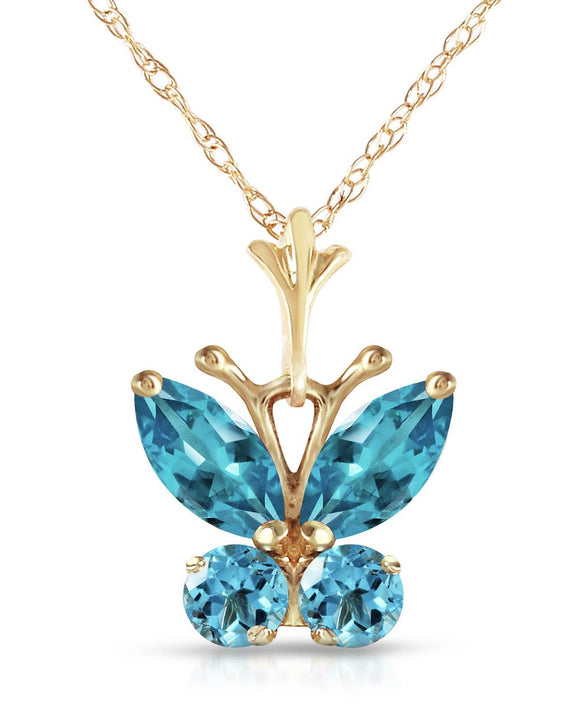 MAGNOLIA 0.60 CTW Multi-Shaped Blue Topaz 14K Gold Ladies Necklace Length 18 in