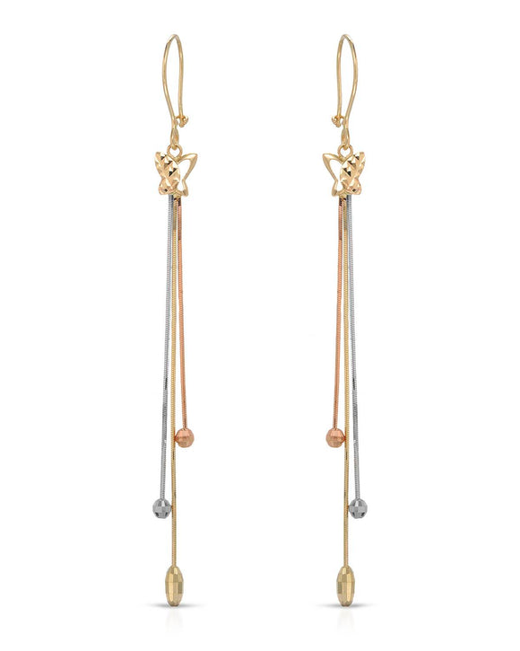MILLANA Made In Italy 14K Gold Dangle Ladies Earrings Weight 2.8g. Length 84 mm