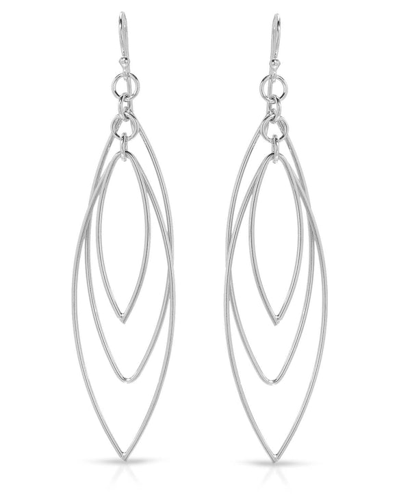 MILLANA Made In Italy Sterling Silver Dangle Ladies Earrings Length 71 mm