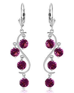 MAGNOLIA 4.95 CTW Round Purple Amethyst 14K Gold Chandelier Ladies Earrings