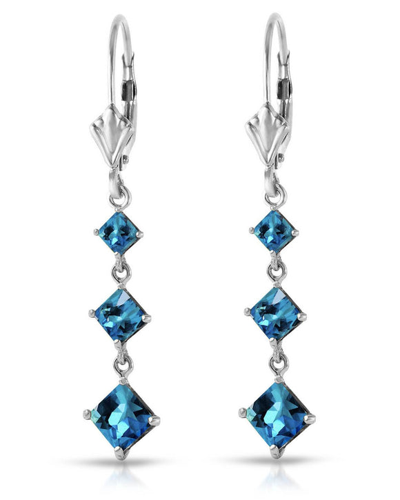 MAGNOLIA 4.80 CTW Square Blue Topaz 14K Gold Dangle Ladies Earrings Length 43 mm