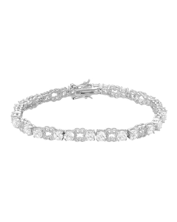 Round White Cubic Zirconia Sterling Silver Tennis Ladies Bracelet Length 7 in