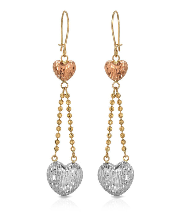 MILLANA Made In Italy 14K Gold Heart Ladies Earrings Weight 3.5g. Length 60 mm