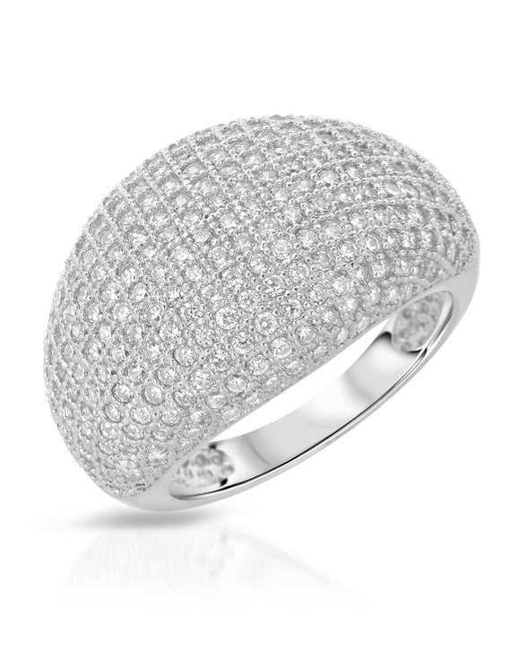 AURORA BOREALIS White Cubic Zirconia Sterling Silver Cocktail Ladies Ring Size 8
