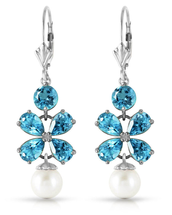 MAGNOLIA 4.00 CTW Multi-Shaped Blue Topaz 14K Gold Dangle Ladies Earrings