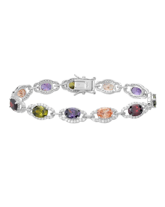 Multi-Shaped Multicolor Cubic Zirconia Sterling Silver Tennis Ladies Bracelet