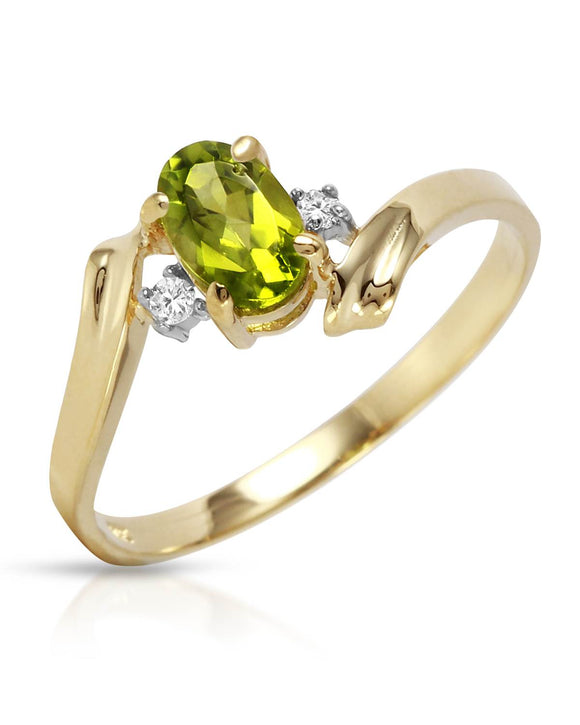 MAGNOLIA 0.46 CTW Accent Oval Golden Green Peridot 14K Gold Ladies Ring Size 8