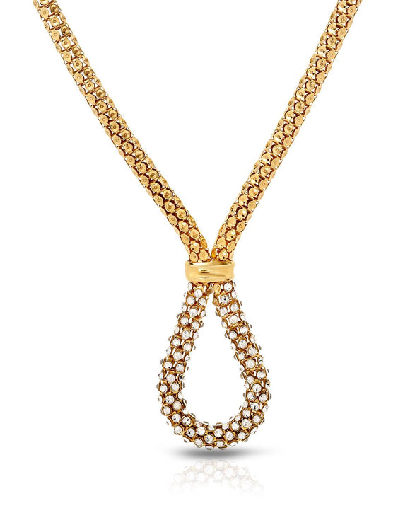 Made In Italy Round White Crystal Gold Plated Silver Ladies Necklace