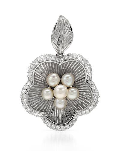 Round White Freshwater Pearl Sterling Silver Ladies Pendant Length 34 mm