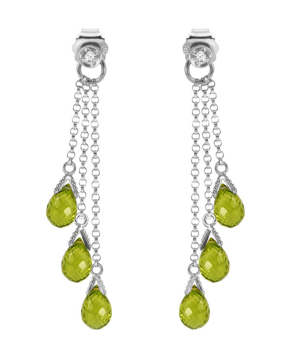 MAGNOLIA 10.51 CTW Briolette Green Peridot 14K Gold Chandelier Ladies Earrings