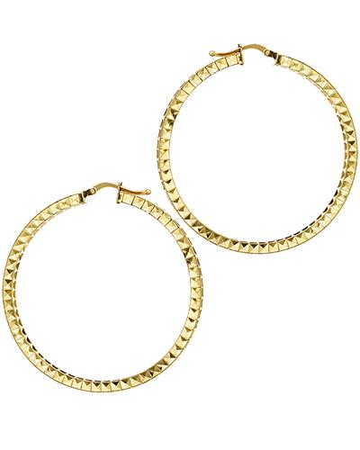 14K Gold Hoop Ladies Earrings Weight 3.7g. Length 46 mm