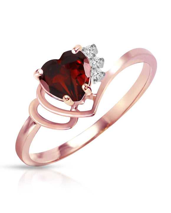 MAGNOLIA 0.97 CTW Heart Reddish Brown Garnet 14K Gold Heart Ladies Ring Size 8