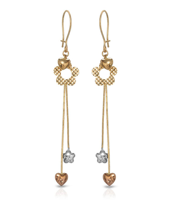 MILLANA Made In Italy 14K Gold Heart Ladies Earrings Weight 2.3g. Length 66 mm
